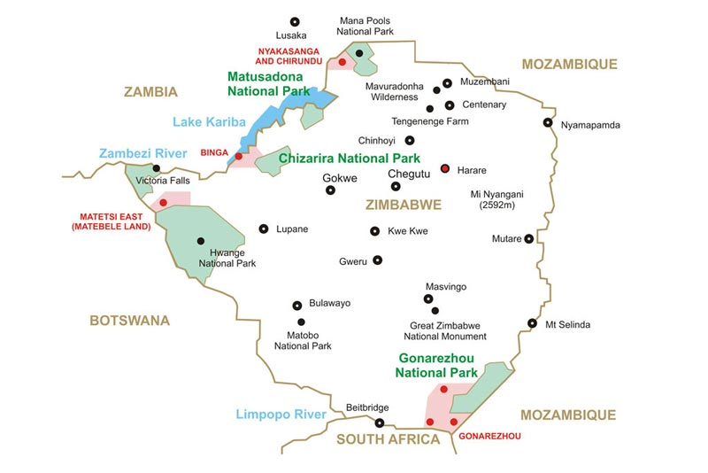 Map of Zimbabwe 2015