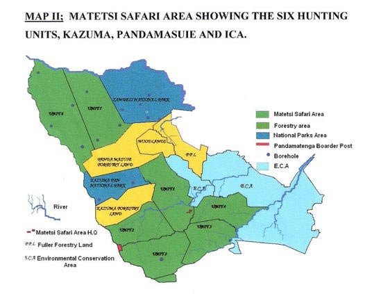 Matetsi Safari Area Map